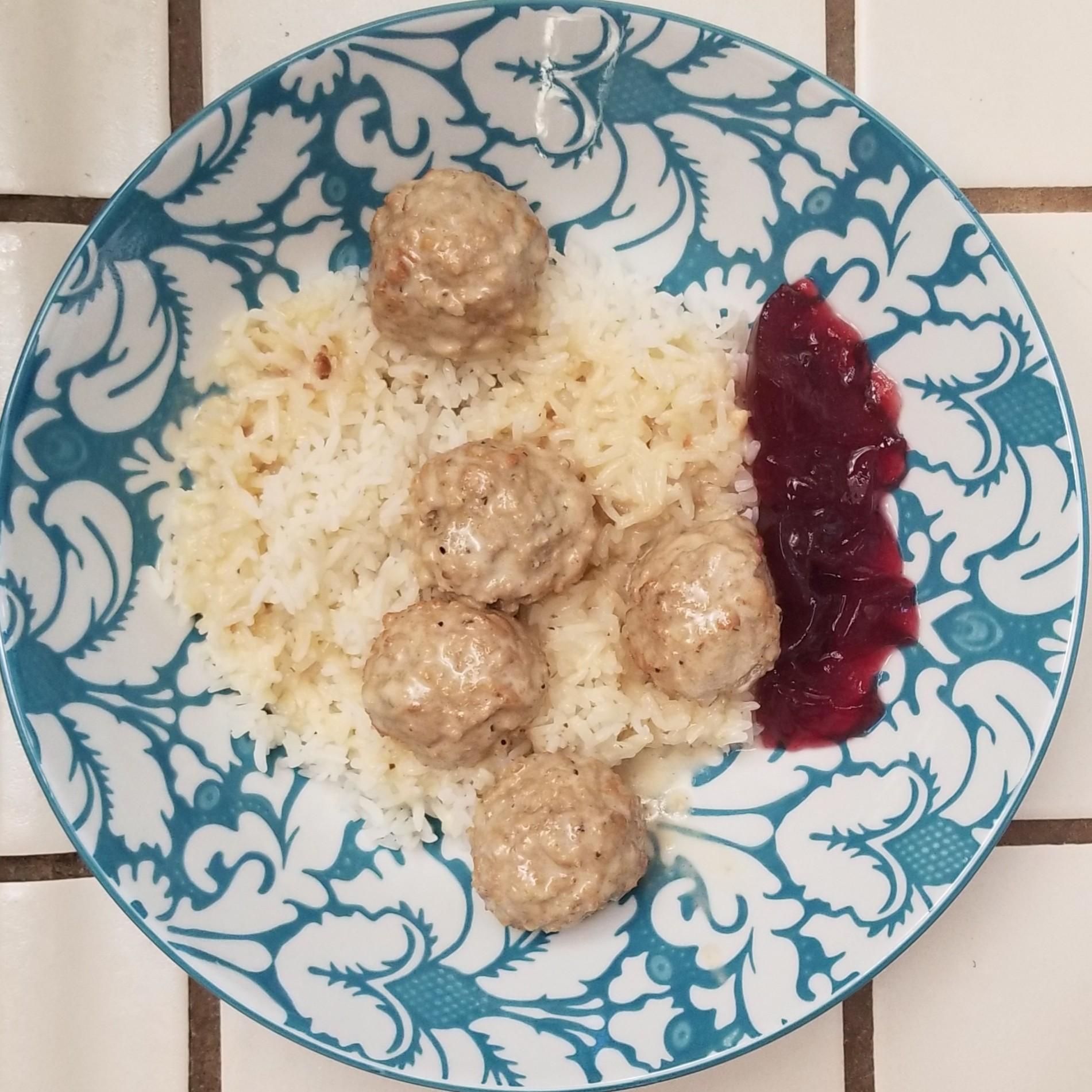 Swedish meatballs on Jasmine rice with a little cranberry sauce.