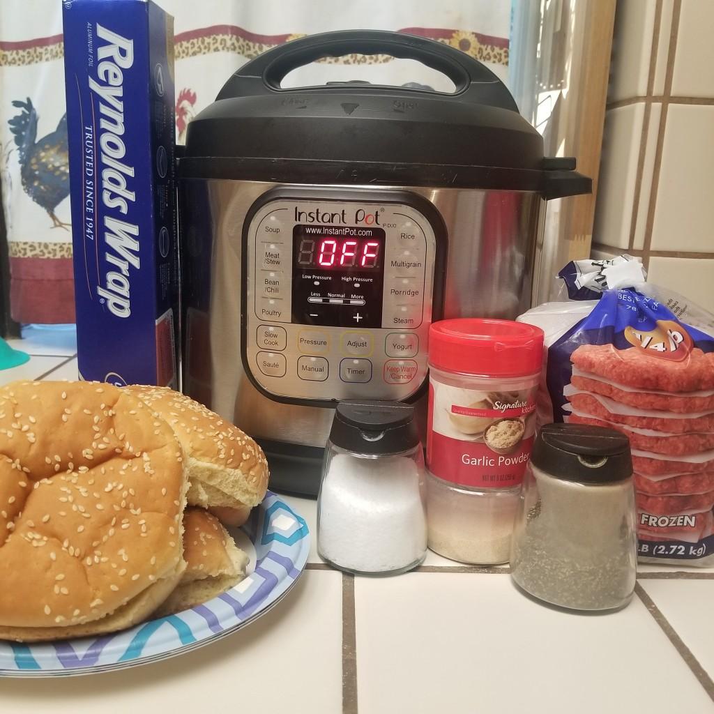 Meal ingredients for Instant Pot Frozen Burgers